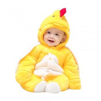Adorable Duck Hooded Fleece Long-sleeve Jumpsuit for Babies