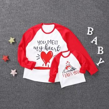 Sweet Printed Contrast T-shirt for Mom and Me