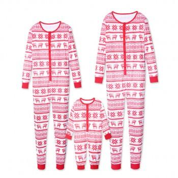 Christmas Deer and Snowflake Printed Matching Family Onesie Pajamas