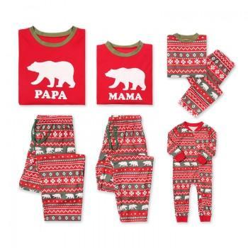 2-piece Christmas Bear Print Family Matching Pajamas Set