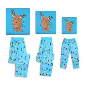 2-piece Lovely Christmas Deer and Lights Printed Family Holiday Pajama Set