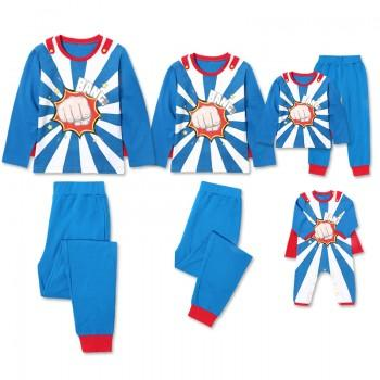 Awesome Super Hero Printed Long Sleeve Family Matching Pj's Set
