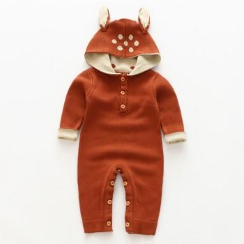Lovely Deer with 3D Ears Knit Jumpsuit for Newborn/Baby Unisex