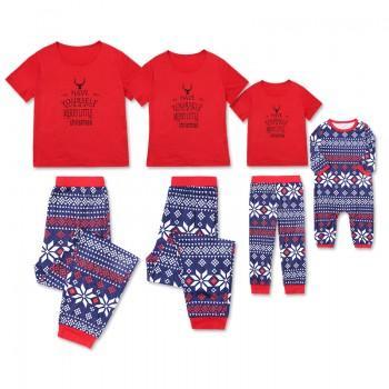 2-piece Christmas Printed Short-sleeve Family Matching Pj's