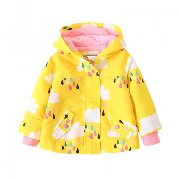 Girl's Pretty Printed Fleece-lined Jacket in Yellow