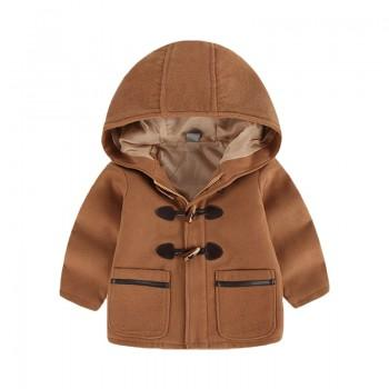Preppy Style Horn Button Woolen Coat for Baby and Toddlers