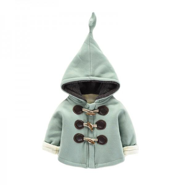 Adorable Solid Horn Button Coat for Baby