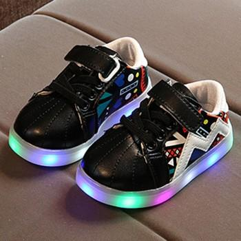 Colorful LED Velcro Shoes for Toddler and Kid