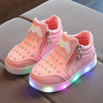 Stylish Rhinestone Studded LED Shoes for Kids