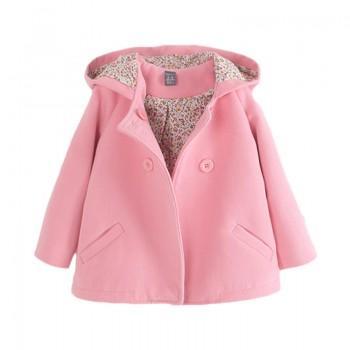 Elegant Double-breasted Woolen Coat for Girls