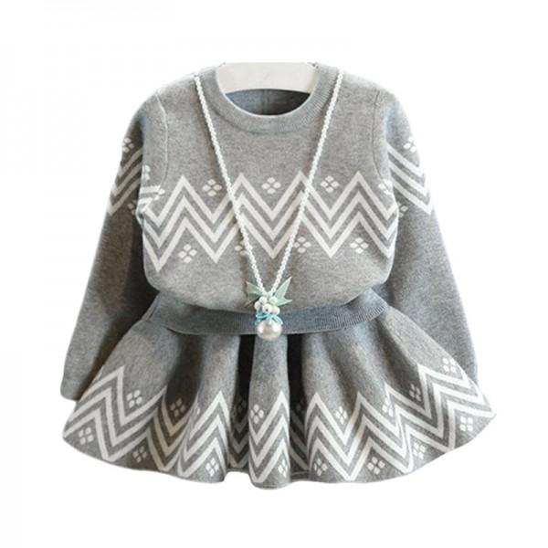 2-piece Striped Knit Sweater and Pleated Skirt Set in Grey for Girls