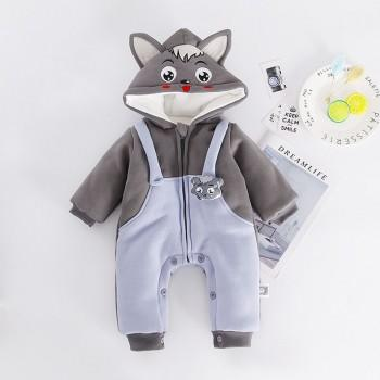 Cute Grey Wolf Pattern Hooded Jumpsuit for Babies