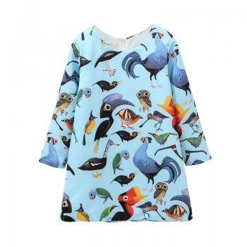Chic Bird Print Long-sleeve Dress in Blue for Toddler Girl/Girl