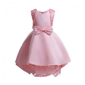 Girl's Elegant Lace Bow-accented Sleeveless Party Dress
