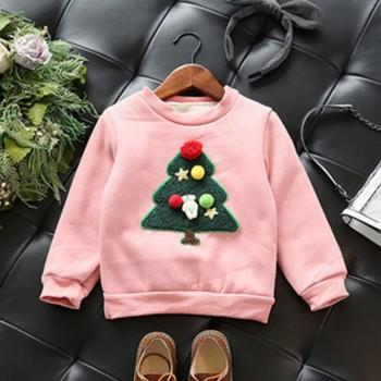 Festive Christmas Tree Long-sleeve Top for Toddlers and Kids