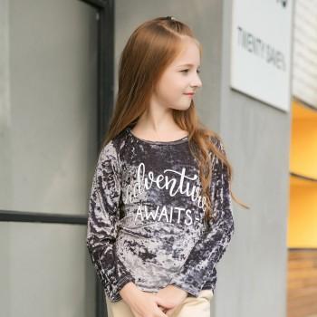 Unique Letter Print Fleece T-shirt for Toddler Girl/Girl