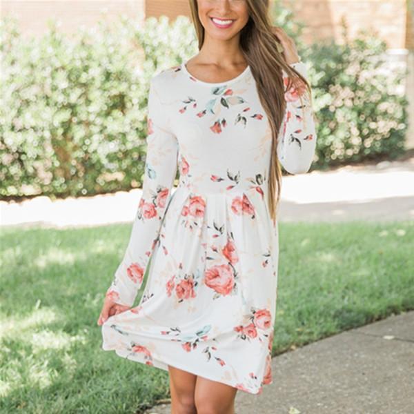 Sweet Floral Long-sleeve Dress for Women