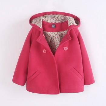 Hot Pink Hooded Long-sleeve Button Front Coat for Baby and Toddler Girls