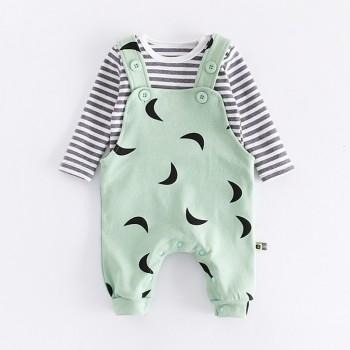 2-piece Striped Tee and Overall Pants Set for Babies