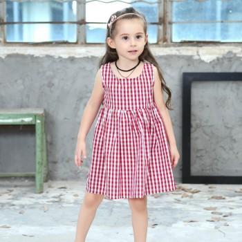 Girl's Casual Gingham Sleeveless Dress